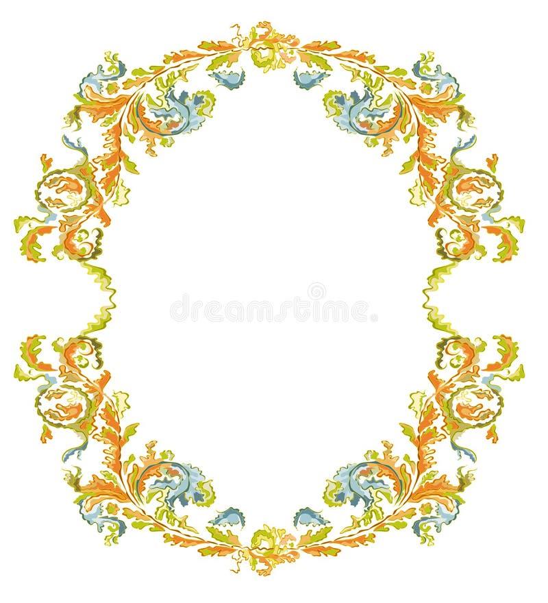Decoratief rond kader sier bloemen klassiek c stock illustratie