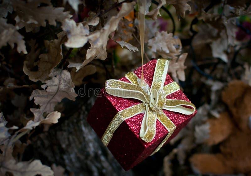 Decoratief rood weinig gift als ornament stock foto