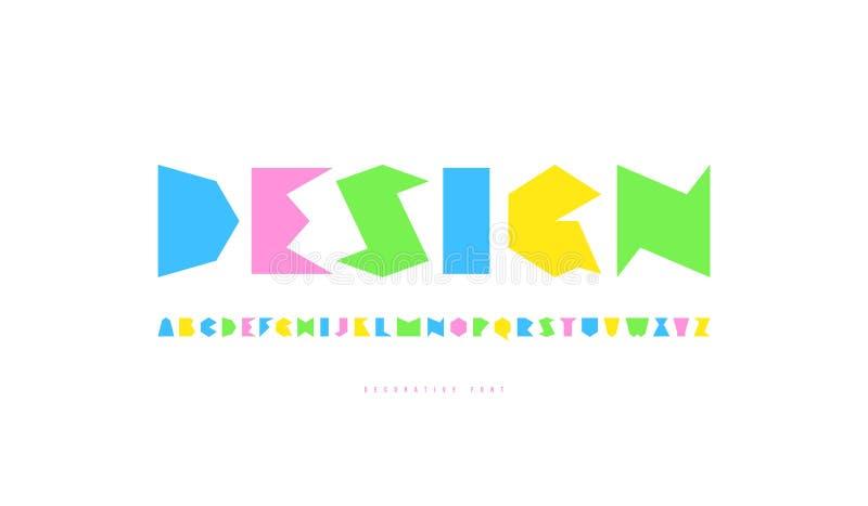 Decoratief sans serif font stock illustratie