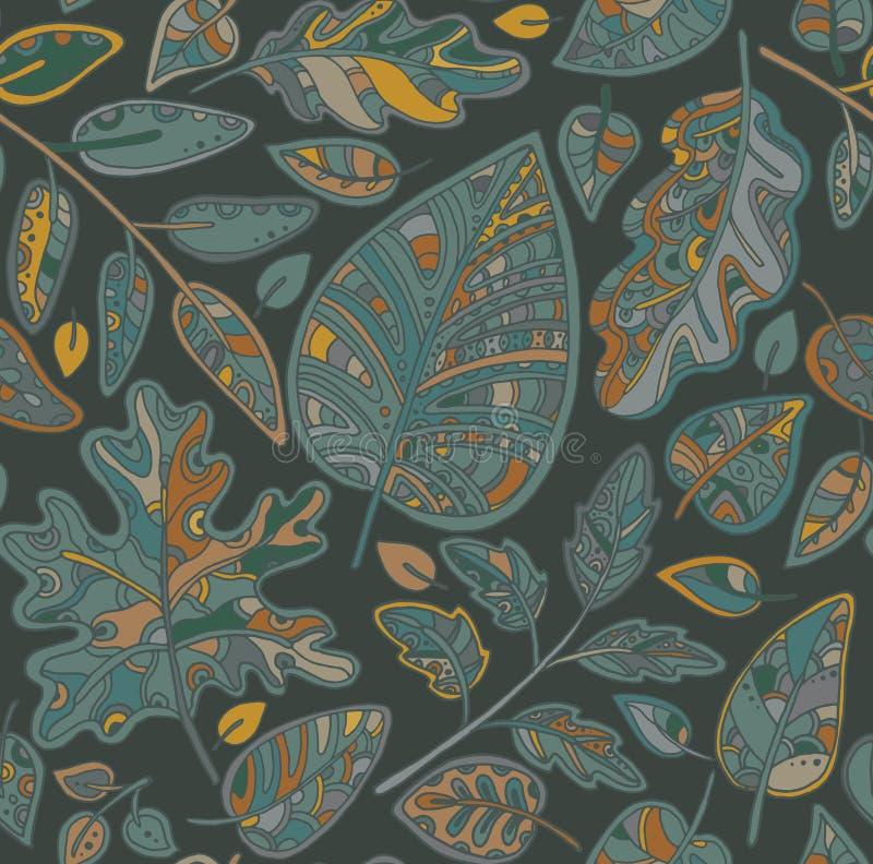 Decoratief sier naadloos patroon met bladeren stock illustratie