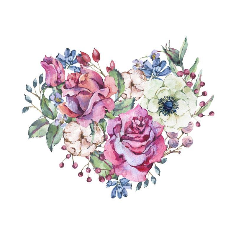 Decoratief uitstekend waterverf bloemenhart van roze rozen vector illustratie