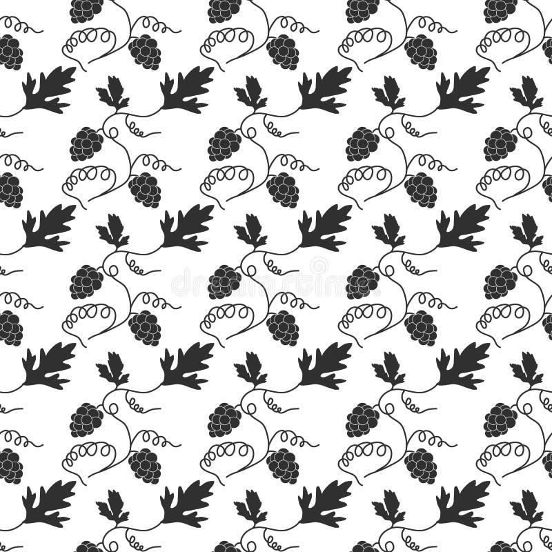 Decoratief vector naadloos patroon met druiven Vector royalty-vrije illustratie