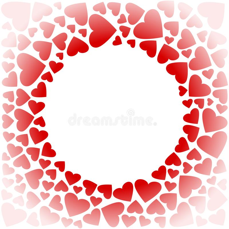 Decoratief vierkant kader met rode harten Vector stock illustratie