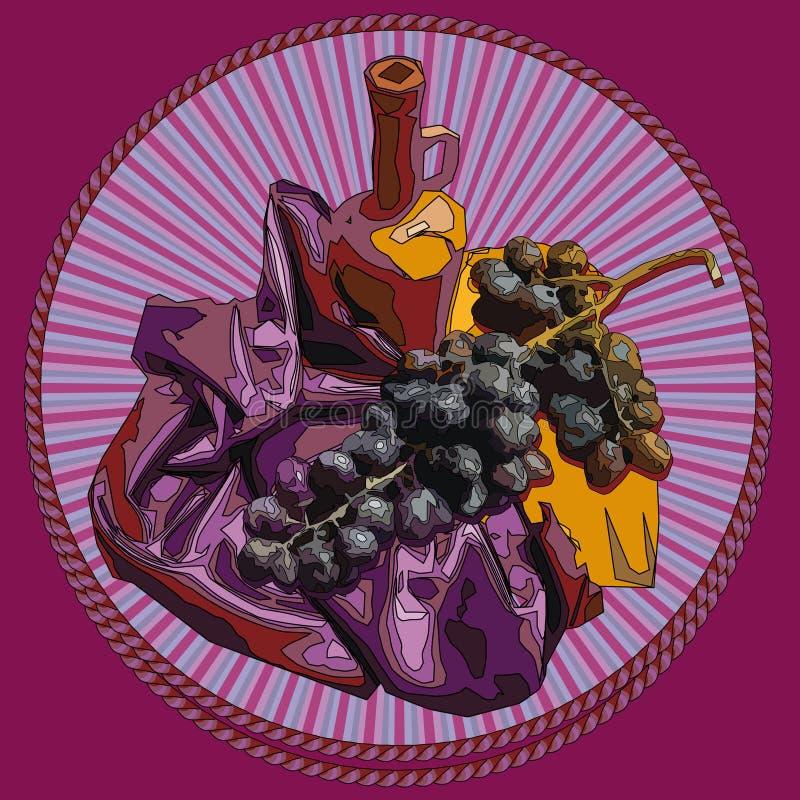 Decoratief vignet, symboliserend wijn en druiven royalty-vrije stock fotografie