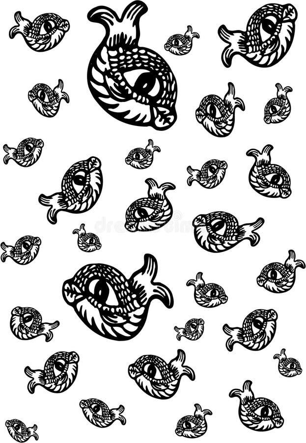 Decoratief Vissenpatroon royalty-vrije stock afbeelding