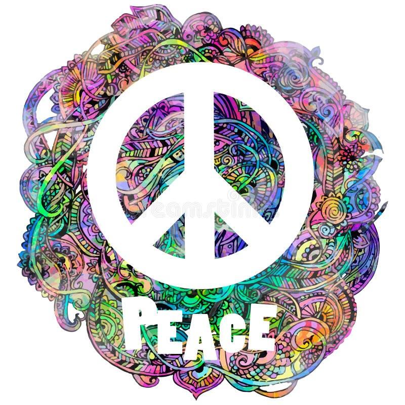 Decoratief vredesteken royalty-vrije illustratie