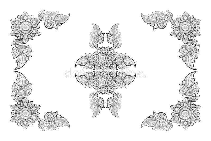 Decoratief zilveren die kader op witte achtergrond wordt geïsoleerd stock afbeeldingen