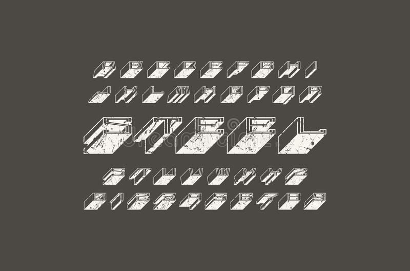 Decoratief zonder serif extra bulkdoopvont vector illustratie