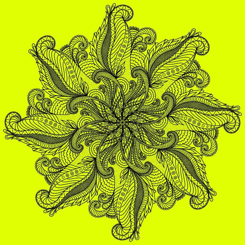 Decoratief zwart patroon op heldere gele achtergrond vector illustratie