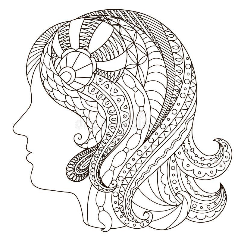 Decoratief zwart-wit silhouet van een meisje in de stijl van vector illustratie
