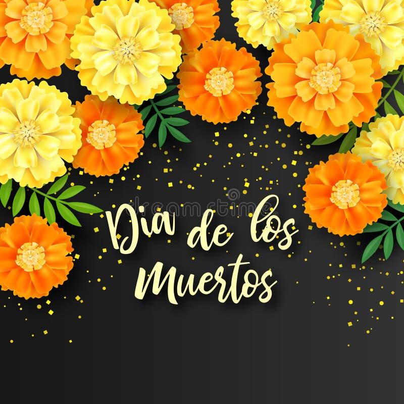 Decoratieve achtergrond met oranje goudsbloemen, symbool van Mexicaanse vakantiedag van doden Vector illustratie royalty-vrije illustratie