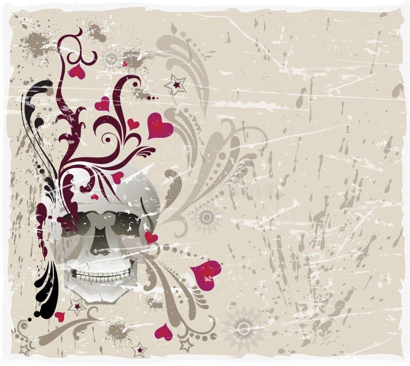 Decoratieve achtergrond met schedel en patroon vector illustratie