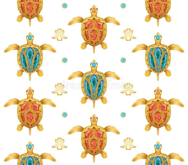 Decoratieve achtergrond van gouden schildpadden royalty-vrije stock foto