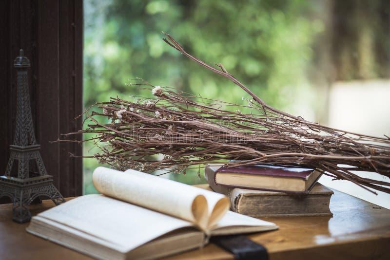 Decoratieve Berktakken en oude boeken open pagina op houten tabl royalty-vrije stock fotografie