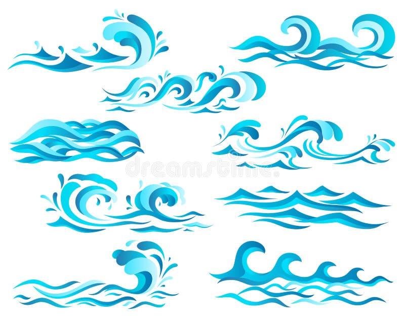 Decoratieve blauwe overzeese golven en brandingspictogrammen met krullen van krachtige waterstroom, plonsen en witte schuimkappen stock illustratie