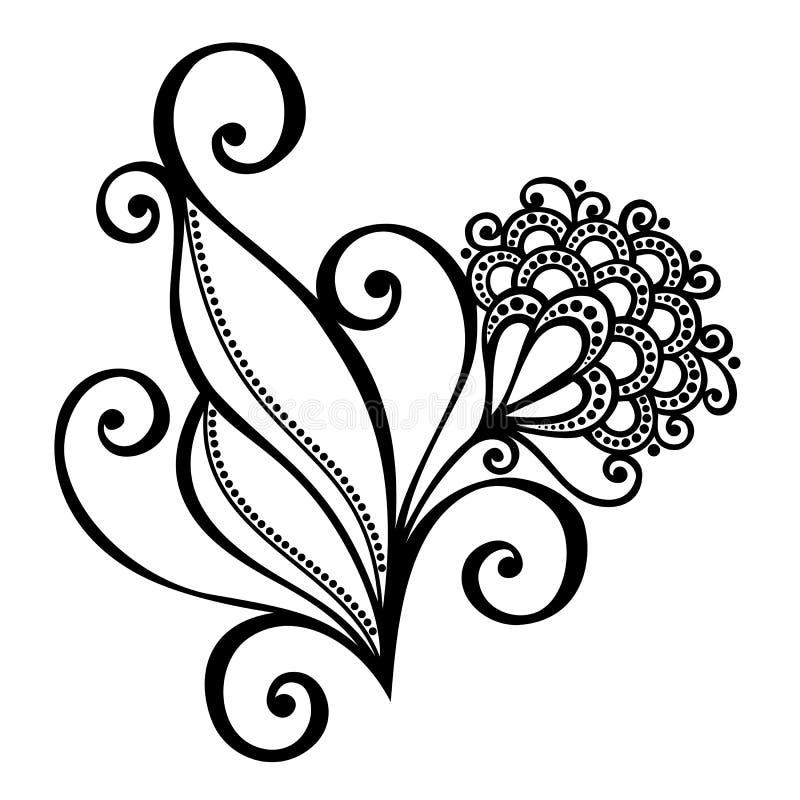 Decoratieve Bloem met Bladeren vector illustratie
