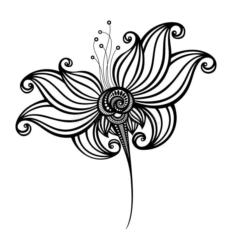 Decoratieve Bloem met Bladeren stock illustratie
