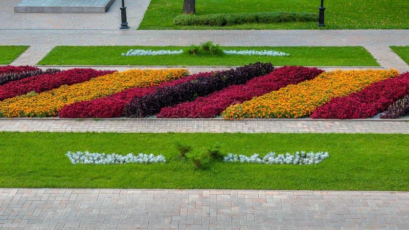 Decoratieve bloembedden met oranje, roze, rode, witte bloemen en groen gras royalty-vrije stock fotografie