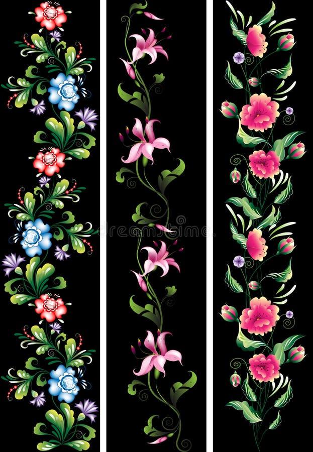 Decoratieve bloemen in nationaal stock illustratie