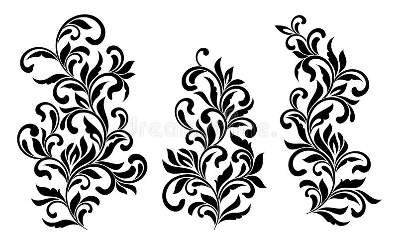 Decoratieve bloemendieelementen met wervelingen en bladeren op witte achtergrond worden geïsoleerd Ideaal voor stencil stock illustratie