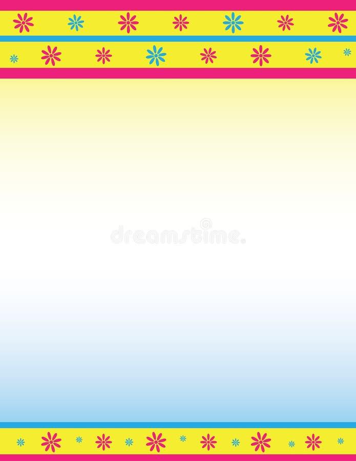 Decoratieve Bloemengrens in Roze, Blauw, en Geel vector illustratie
