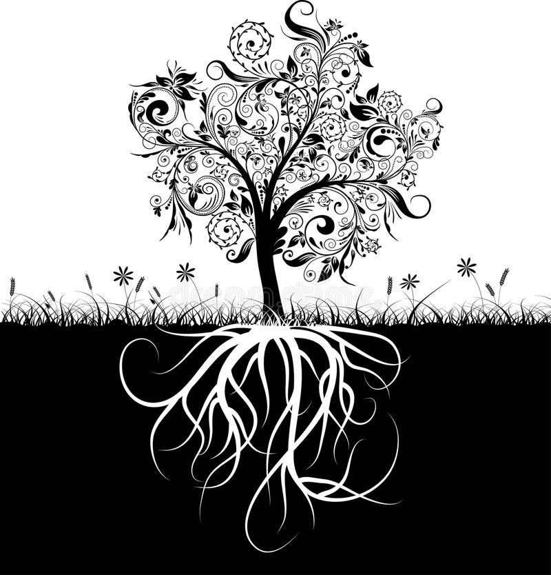 Decoratieve boom en wortels, gras royalty-vrije illustratie