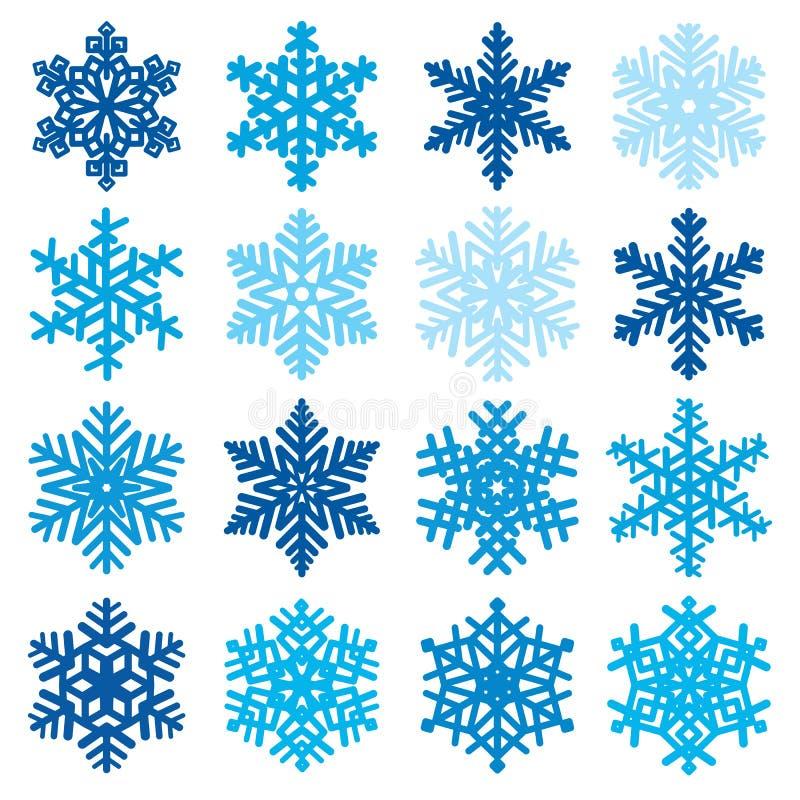 Decoratieve de winter vastgestelde vectorillustratie van diverse sneeuwvlokvormen royalty-vrije illustratie