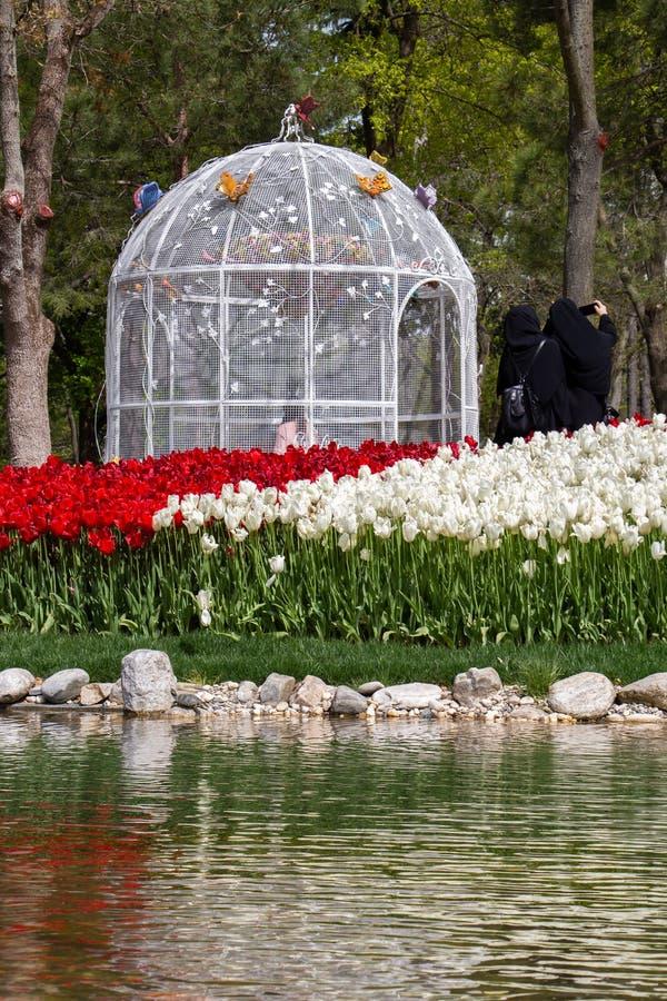 Decoratieve die pergolahut in eenvoudige stijl in een tuin wordt gemaakt royalty-vrije stock fotografie