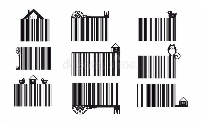 Decoratieve die streepjescode met ecoelementen wordt geplaatst royalty-vrije illustratie