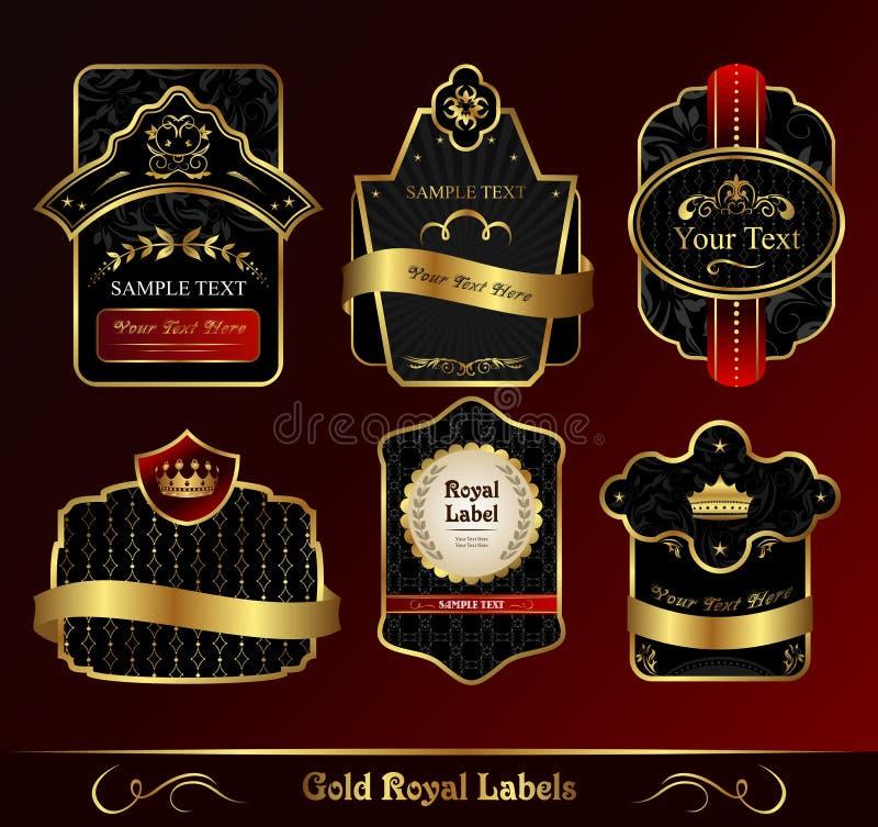 Decoratieve donkere gouden frames etiketten vector illustratie