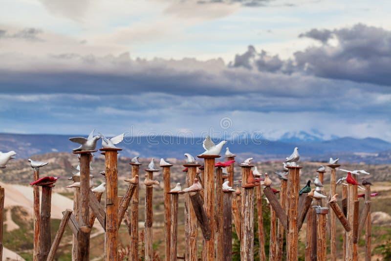 Decoratieve duiven dichtbij Uchisar stock foto's