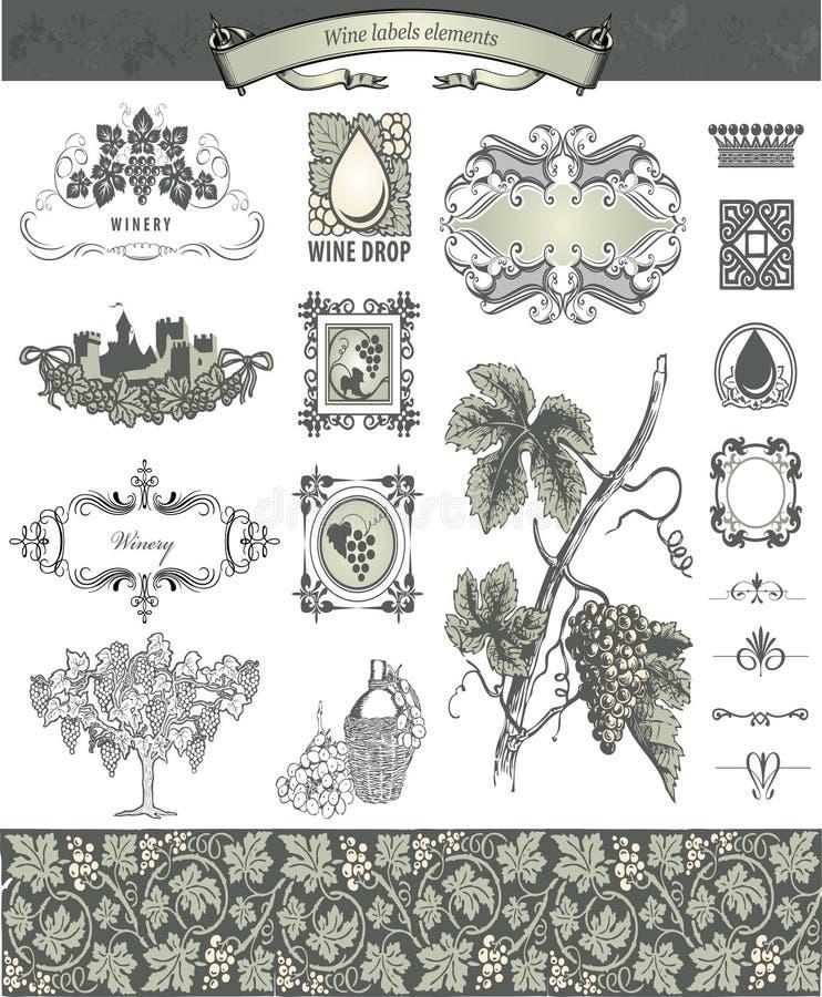 Decoratieve elementen - Wijnmakerijstijl stock foto's