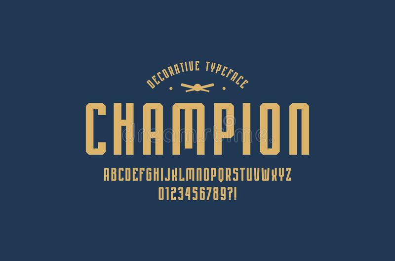 Decoratieve engte zonder serif doopvont in sportstijl vector illustratie