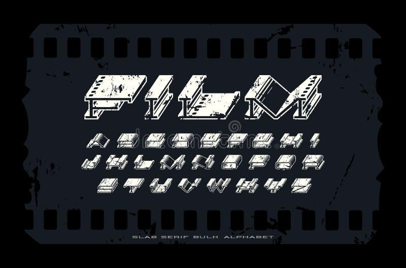 Decoratieve extra massa uitgebreide serif doopvont met ruwe textuur stock illustratie