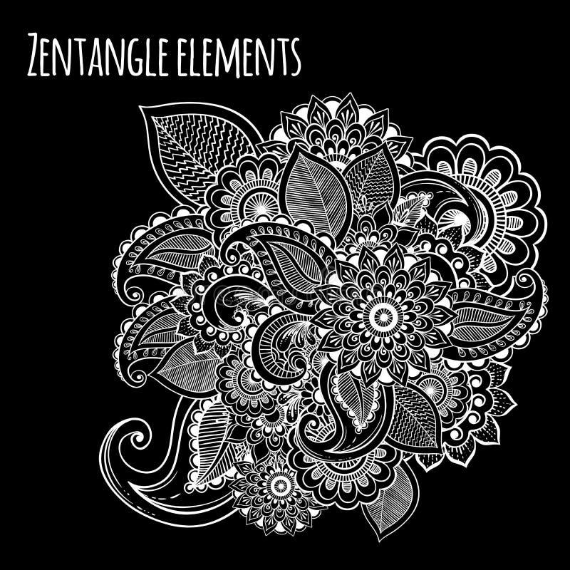 Decoratieve geïnspireerde de bloemen zentangle stijl van de lijnkunst Uitstekend krijt over het bord Vectorontwerp voor t-shirtdr royalty-vrije illustratie
