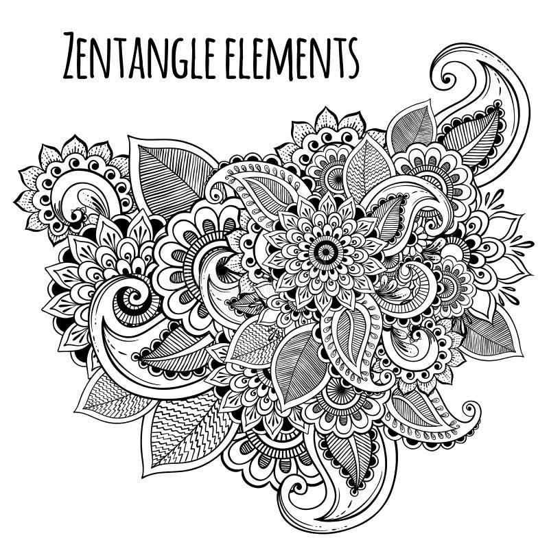 Decoratieve geïnspireerde de bloemen zentangle stijl van de lijnkunst Vectorontwerp voor t-shirtdruk of tatoegering Hoog - kwalit royalty-vrije illustratie