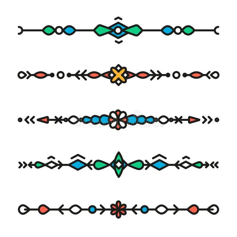 Decoratieve geïsoleerde hipster geometrische kleurrijke verdelers vector illustratie