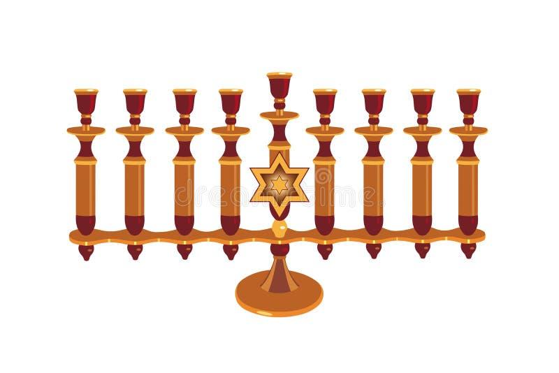 Decoratieve geïsoleerded Menorah stock illustratie