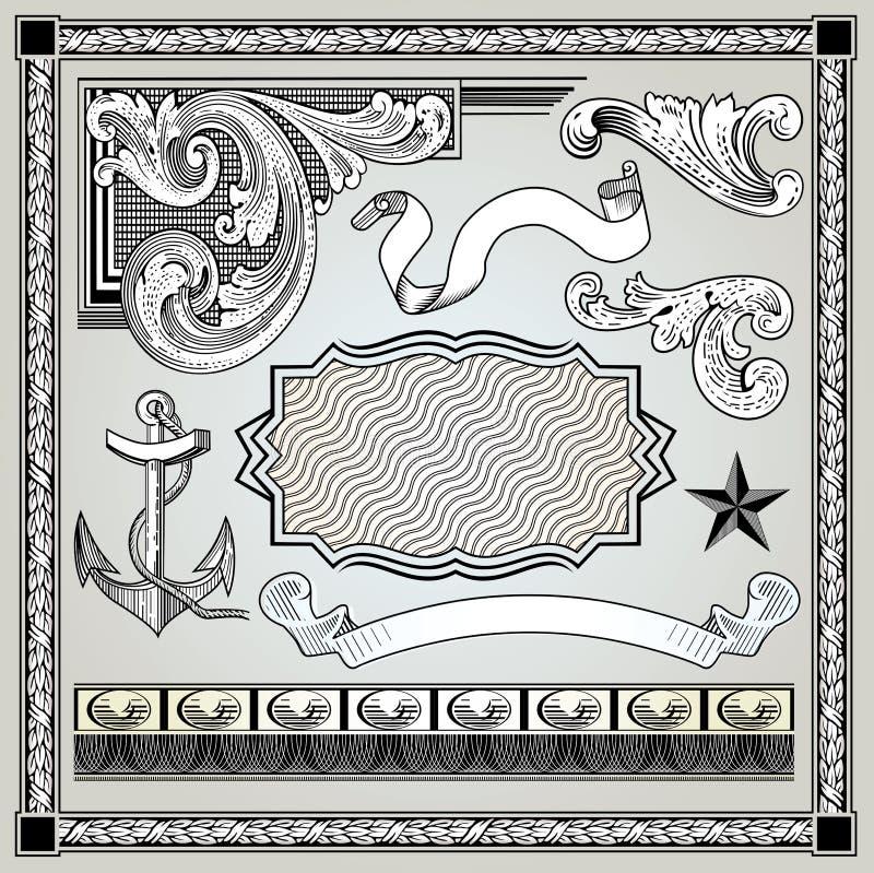 Decoratieve geplaatste elementen stock illustratie