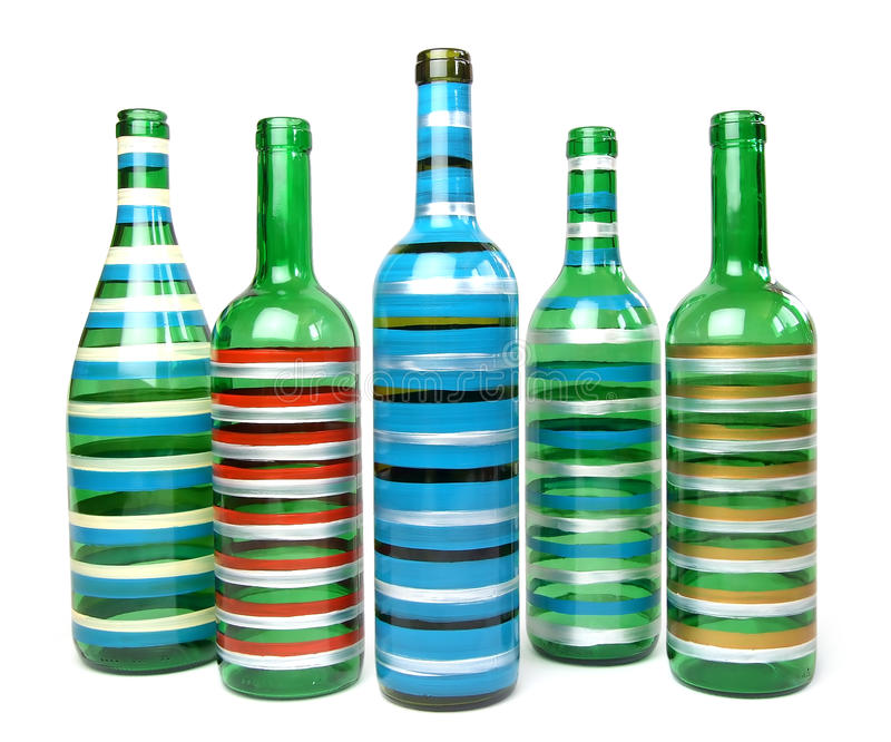 Decoratieve glasflessen royalty-vrije stock foto's