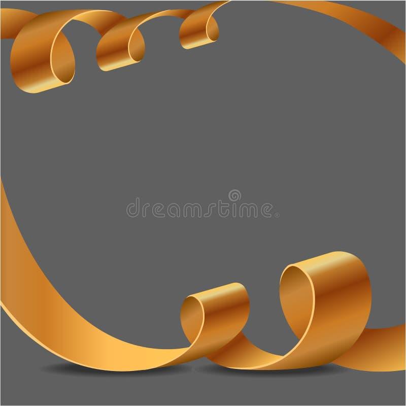 Decoratieve gouden die linten op grijs worden geïsoleerd Vector geel gekruld lint voor paginadecor De nieuwe decoratie van de jaa royalty-vrije stock fotografie