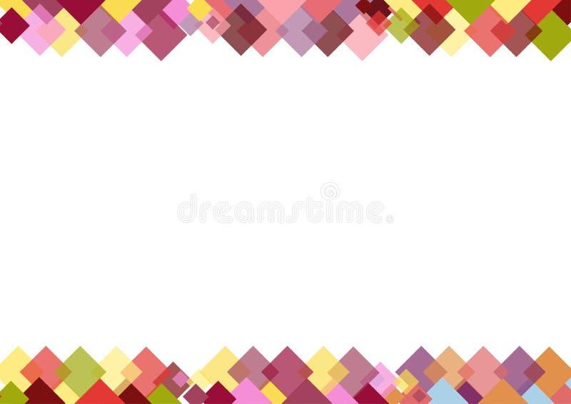 Decoratieve grens van kleurrijke vierkanten met plaats voor tekst royalty-vrije illustratie