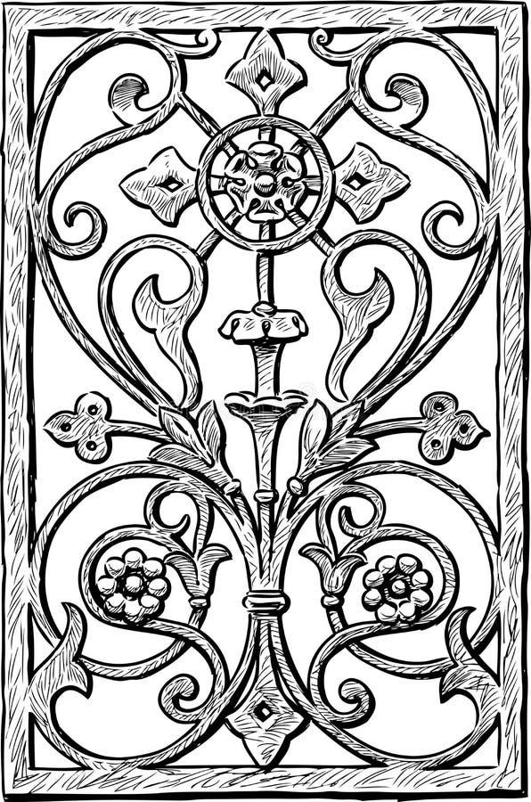 Decoratieve grill op een oud gebouw vector illustratie