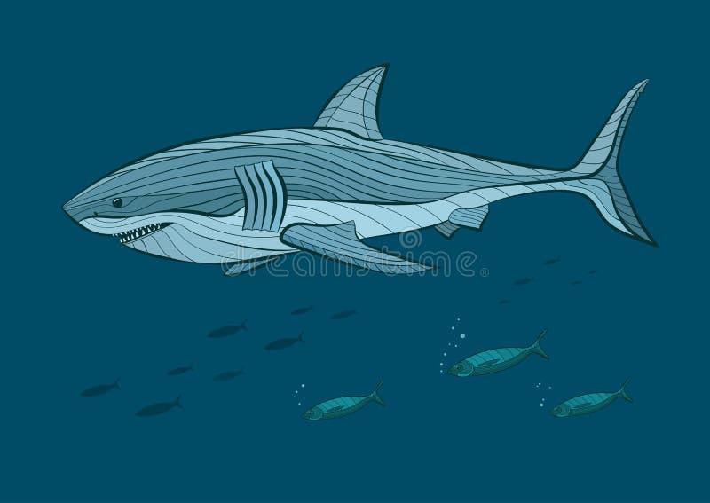Decoratieve grote witte haai in het overzees met vissen stock illustratie