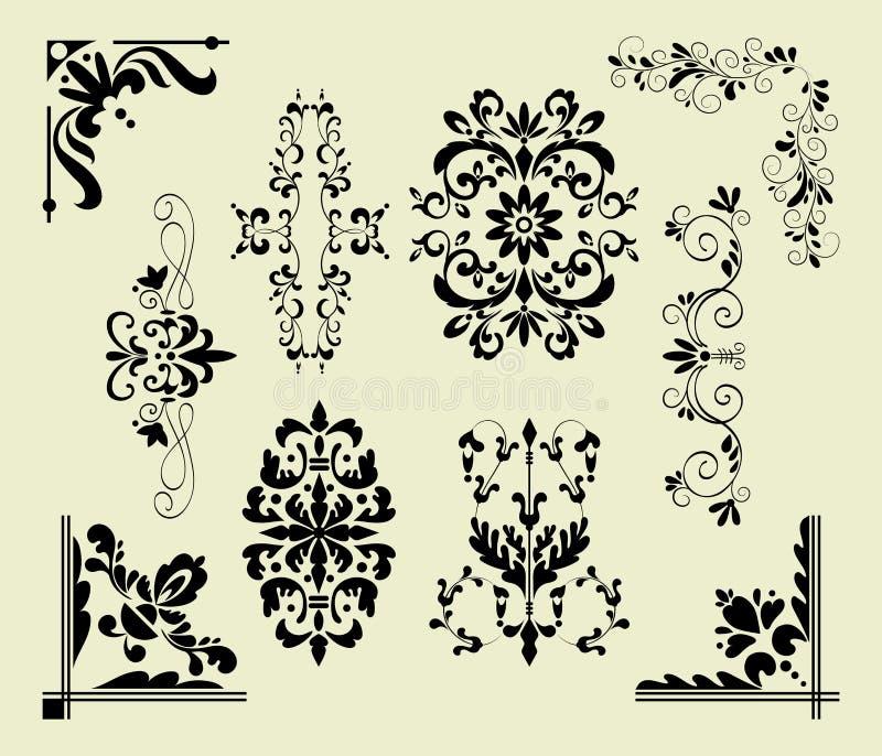 Decoratieve hand getrokken klassieke uitstekende ornamentreeks stock illustratie