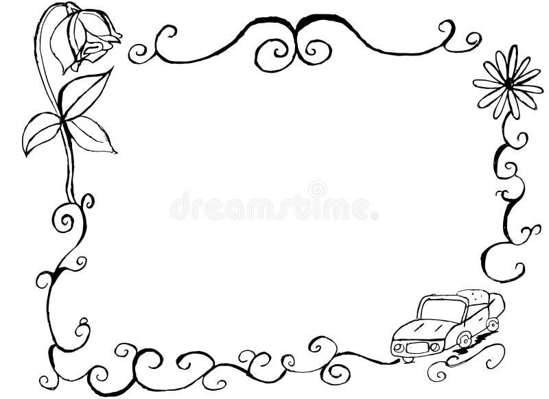 Decoratieve hand getrokken uitstekende auto en bloemengrens en kader stock illustratie