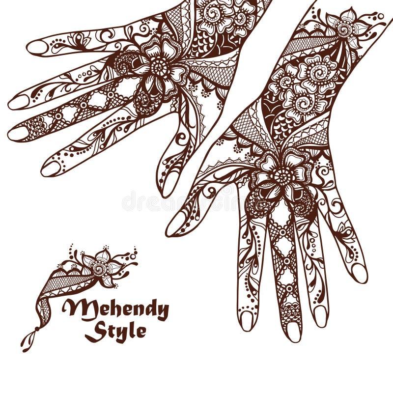 Decoratieve Handen met Henna Tattoos vector illustratie
