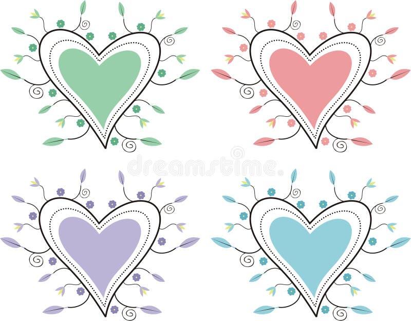 Decoratieve harten stock illustratie