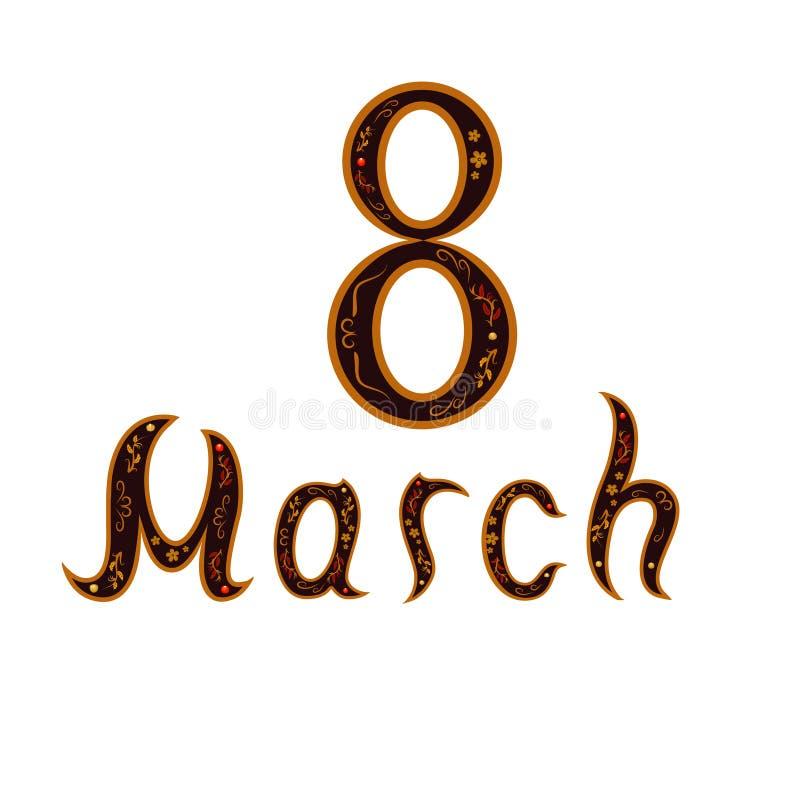 Decoratieve het schilderen achtergrond met tekst 8 Maart royalty-vrije stock afbeelding