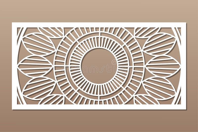 Decoratieve kaart voor knipsel Mandala Geometry-patroon De laser sneed paneel Verhouding 1:2 Vector illustratie stock afbeelding
